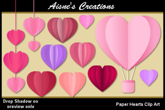 Print on Demand: Paper Hearts Clip Art Graphic Objects By Aisne