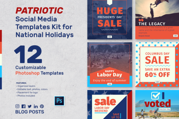 Patriotic Social Media Banner Kit Graphic Graphic Templates By aviva