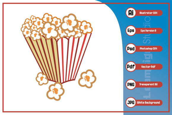 Print on Demand: Popcorn in the Cup Design Graphic Icons By leamsign