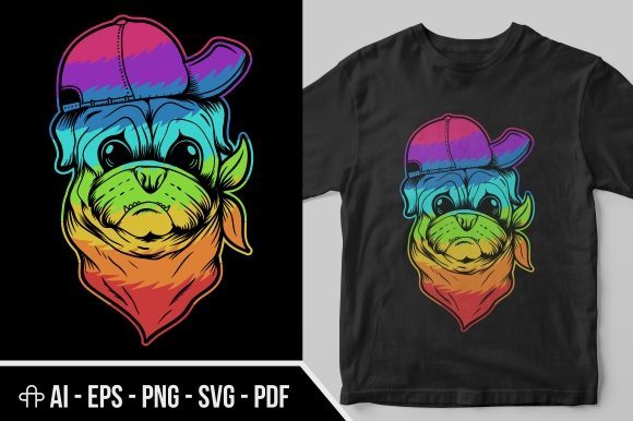 Print on Demand: Pug Dog Hat and Bandana Colorful Graphic Illustrations By Andypp