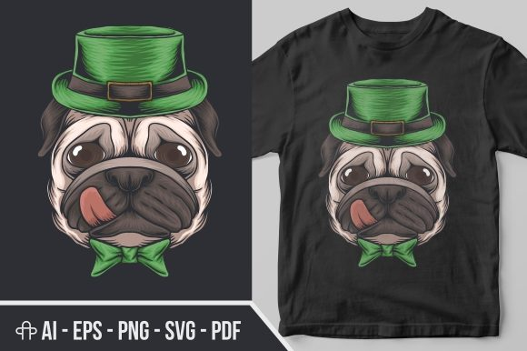 Print on Demand: Pug Dog Head St. Patrick's Day Graphic Illustrations By Andypp