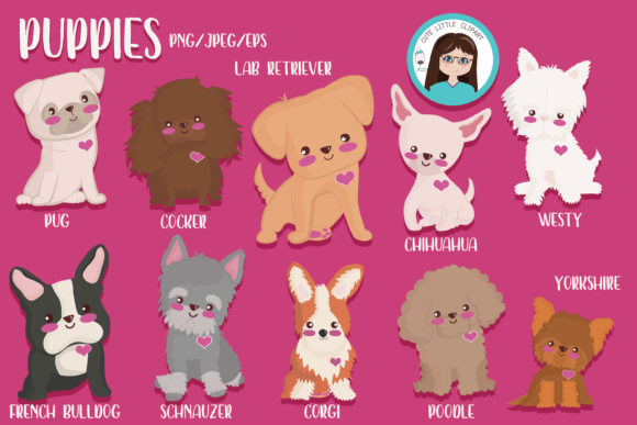 Puppies Clipart Graphic Illustrations By CuteLittleClipart - Image 1