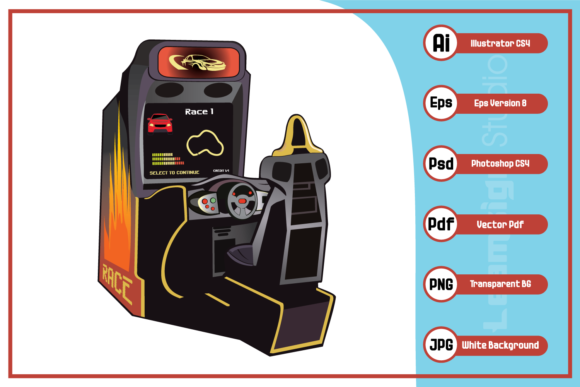 Print on Demand: Racing Video Game Console Design Graphic Icons By leamsign