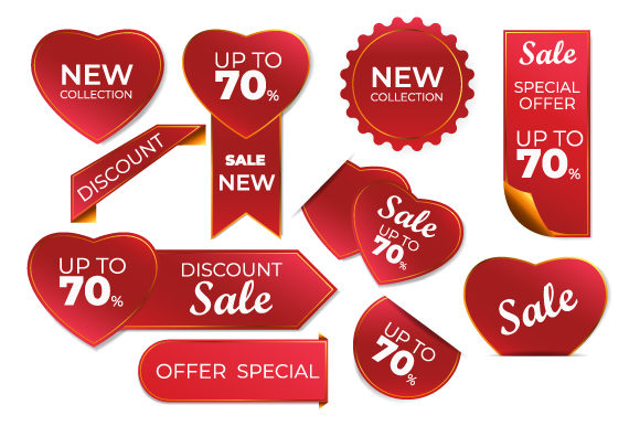 Print on Demand: Red Vector Price Tags Sale Valentine Graphic Objects By iop_micro