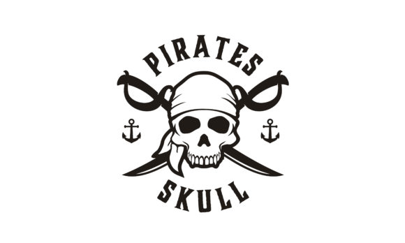 Download Free Retro Pirates Skull Crossing Swords Logo Grafico Por Enola99d for Cricut Explore, Silhouette and other cutting machines.