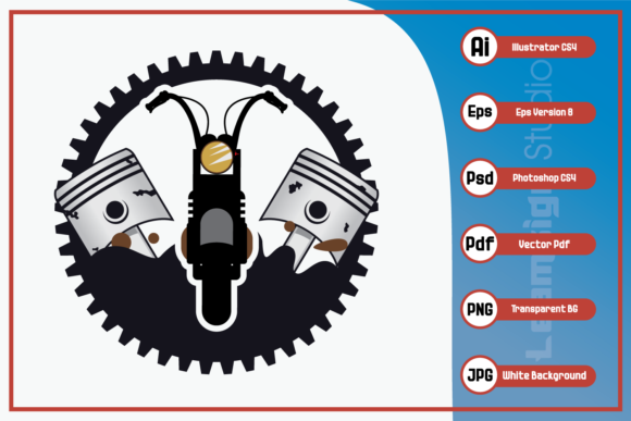 Print on Demand: Retro Motorcycle Logo Design Graphic Icons By leamsign