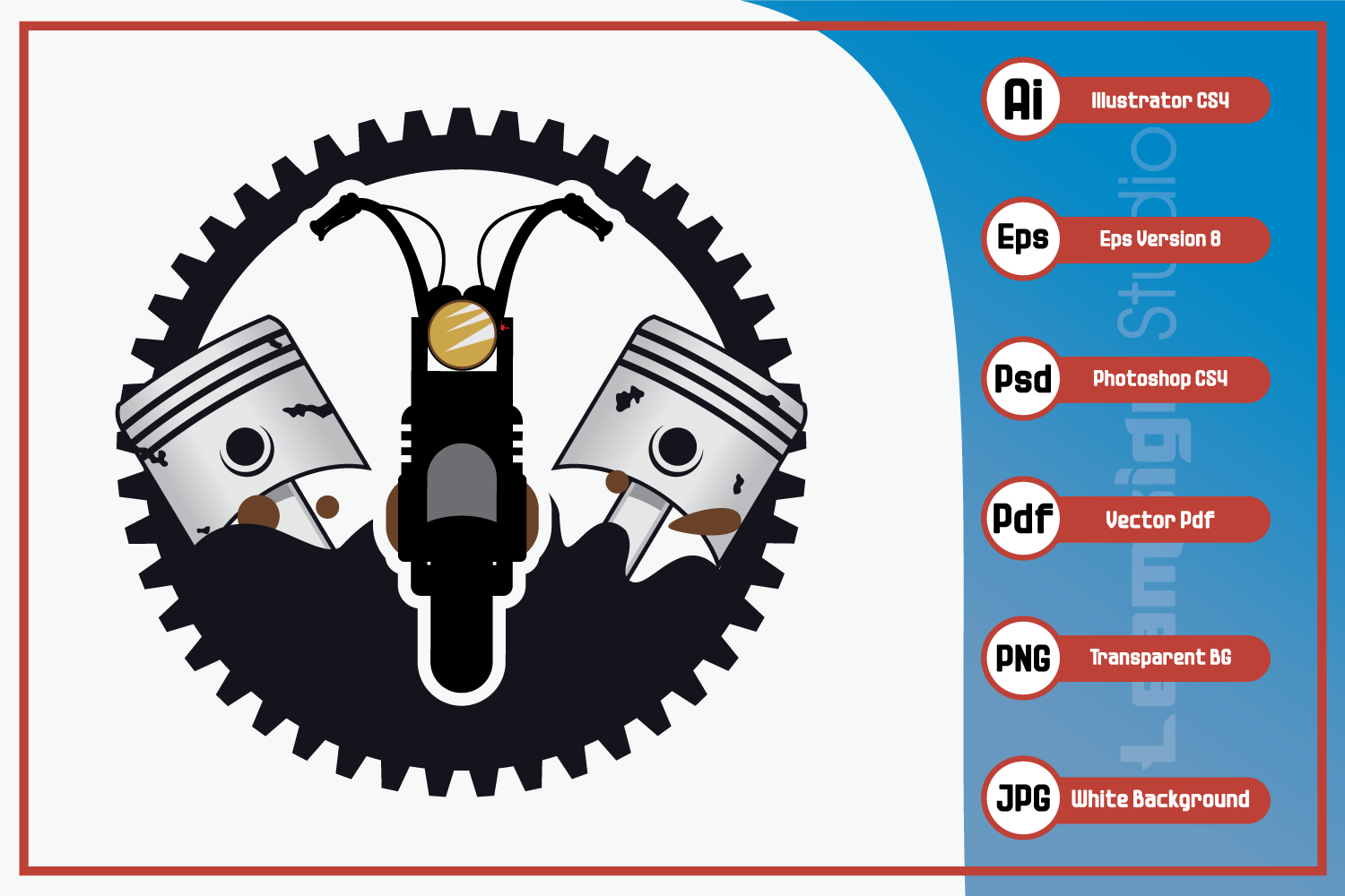 Download Free Retro Motorcycle Logo Design Graphic By Leamsign Creative Fabrica for Cricut Explore, Silhouette and other cutting machines.