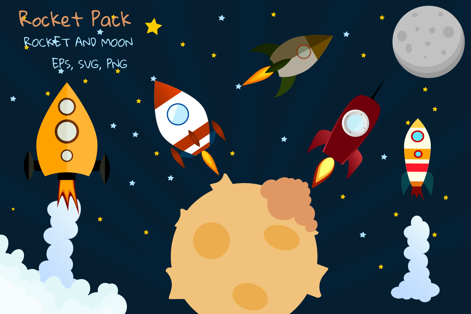 Rocket Clipart Space Clipart Graphic By Igraphic Studio