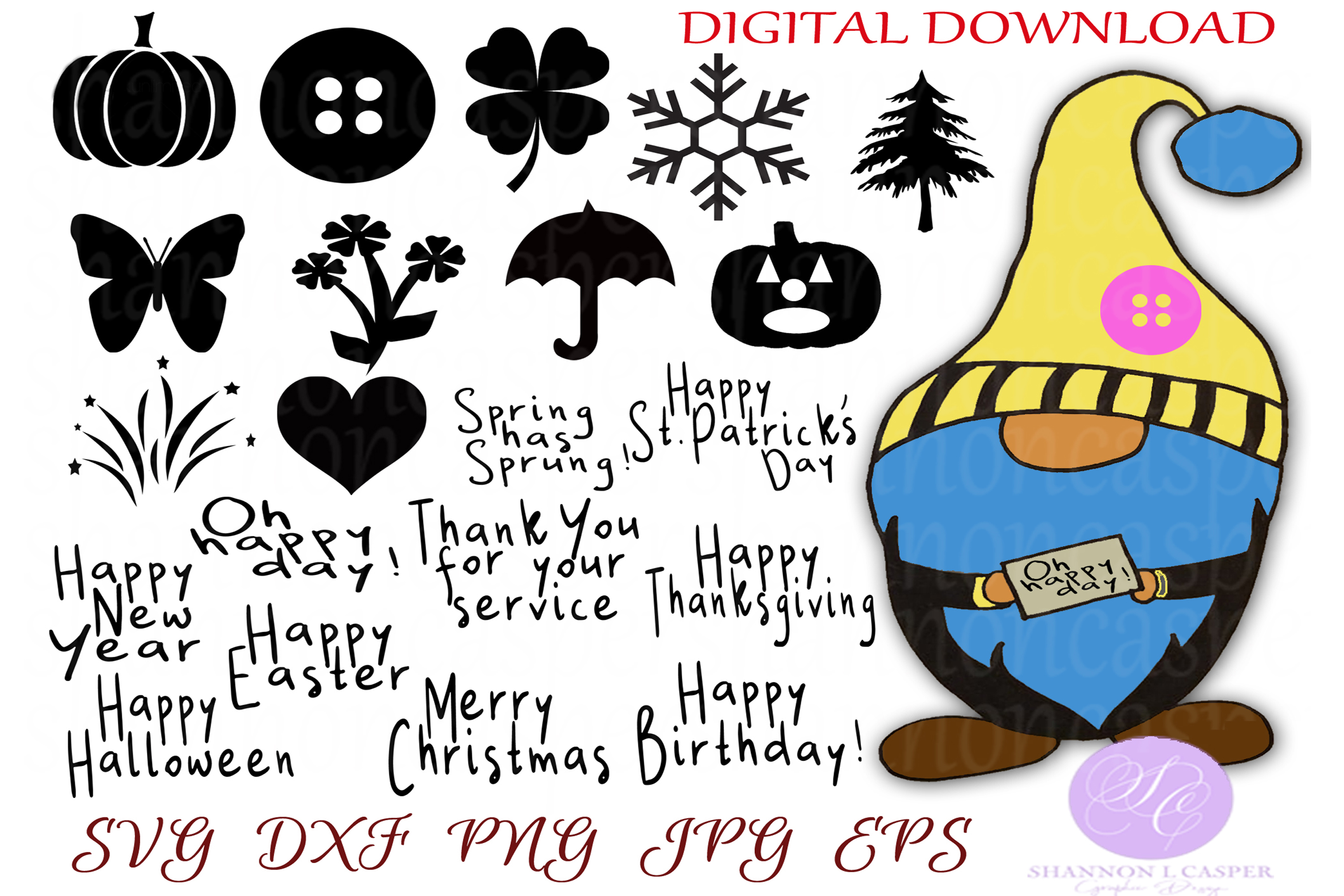 Download Free Scandanavian Gnome Bundle Hand Drawn Graphic By Shannon Casper SVG Cut Files
