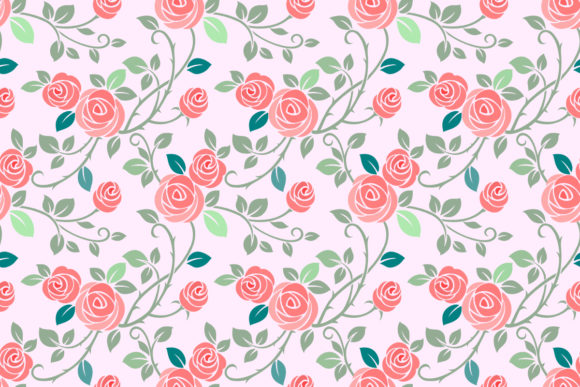 Seamless Pattern with Rose Flowers. Graphic Patterns By ranger262