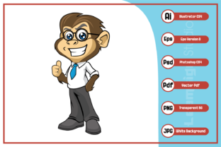Download Free Smart Monkey Cartoon Character Design Graphic By Leamsign for Cricut Explore, Silhouette and other cutting machines.