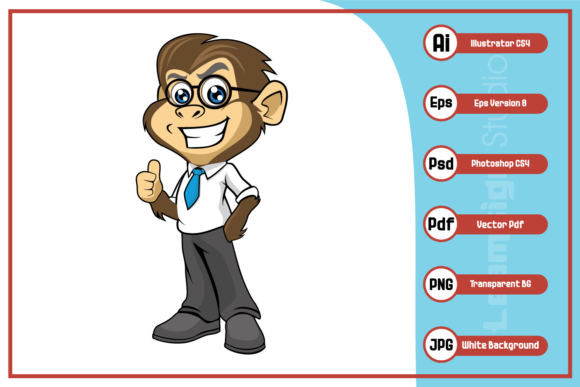 Print on Demand: Smart Monkey Cartoon Character Design Graphic Icons By leamsign