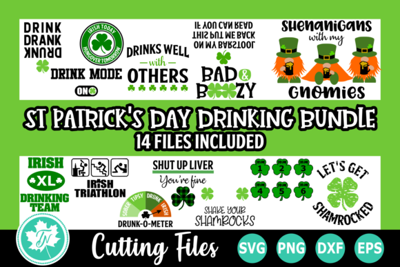 St Patrick's Day Drinking SVG Bundle Graphic Crafts By TrueNorthImagesCA
