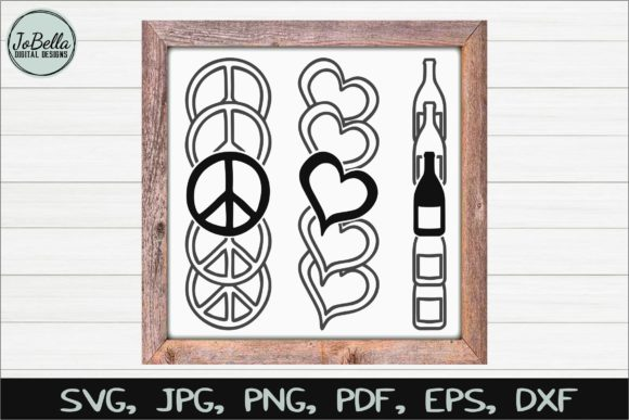 Download Free Stacked Peace Love Wine Svg Graphic By Jobella Digital Designs for Cricut Explore, Silhouette and other cutting machines.
