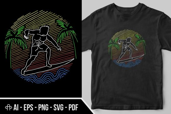 Print on Demand: Surfing Line Art Graphic Illustrations By Andypp