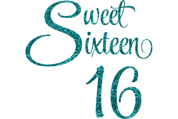 Download Free Sweet Sixteen 16 Glittery Svg And Png Graphic By Am Digital for Cricut Explore, Silhouette and other cutting machines.