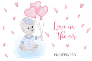 Print on Demand: Teddy Bear. Heart Balloons. Valentine Graphic Illustrations By PawStudio