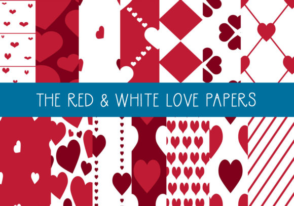 Print on Demand: The Red & White Love Papers Graphic Illustrations By capeairforce