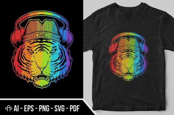 Print on Demand: Tiger Headphone Colorful Graphic Illustrations By Andypp