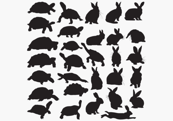 Download Free Tortoise Rabbit Silhouettes Graphic By Octopusgraphic Creative for Cricut Explore, Silhouette and other cutting machines.