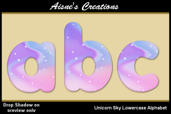Print on Demand: Unicorn Sky Lowercase Alphabet Graphic Objects By Aisne