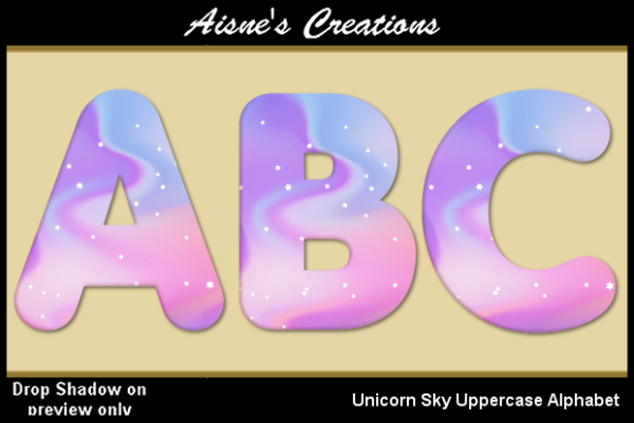 Print on Demand: Unicorn Sky Uppercase Alphabet Graphic Objects By Aisne