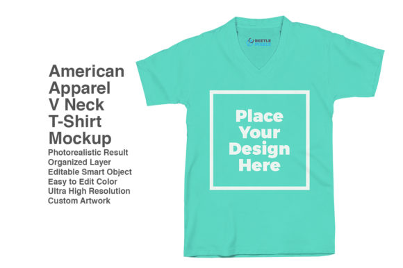 Print on Demand: V-Neck-American-Apparel Mockup Graphic Product Mockups By svgsupply