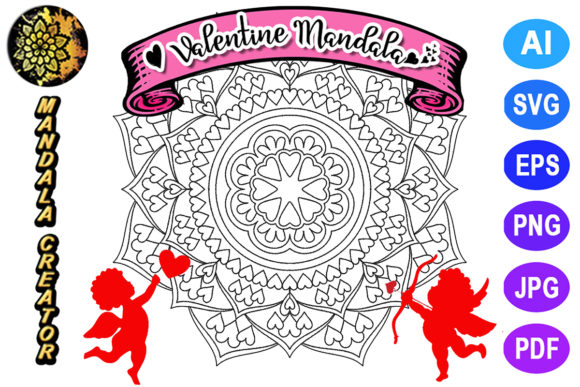 Print on Demand: Valentine Mandala for Adult Coloring -11 Graphic Coloring Pages & Books Adults By V-Design Creator
