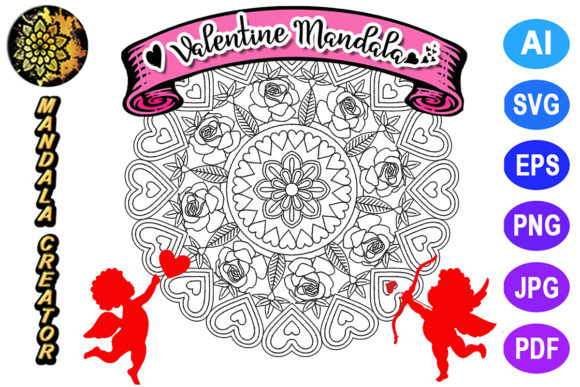 Print on Demand: Valentine Mandala for Adult Coloring -13 Graphic Coloring Pages & Books Adults By V-Design Creator