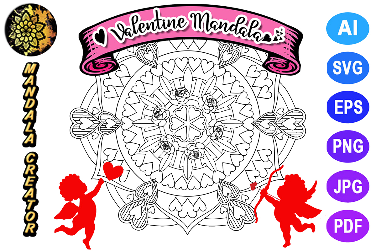 Download Free Valentine Mandala For Adult Coloring 16 Graphic By Mandala for Cricut Explore, Silhouette and other cutting machines.