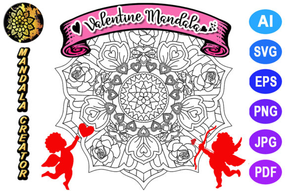 Print on Demand: Valentine Mandala for Adult Coloring -18 Graphic Coloring Pages & Books Adults By V-Design Creator