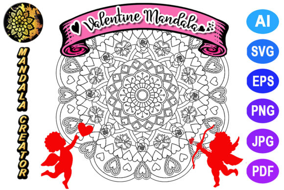 Print on Demand: Valentine Mandala for Adult Coloring -19 Graphic Coloring Pages & Books Adults By V-Design Creator