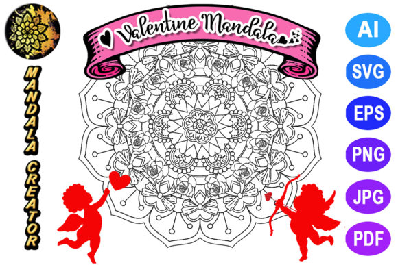 Print on Demand: Valentine Mandala for Adult Coloring -21 Graphic Coloring Pages & Books Adults By V-Design Creator