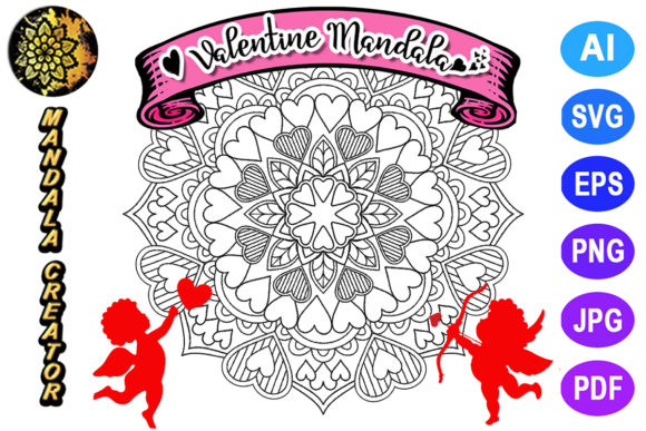 Print on Demand: Valentine Mandala for Adult Coloring -24 Graphic Coloring Pages & Books Adults By V-Design Creator