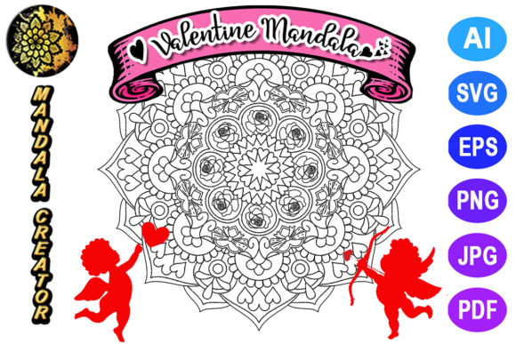 Print on Demand: Valentine Mandala for Adult Coloring -25 Graphic Coloring Pages & Books Adults By V-Design Creator