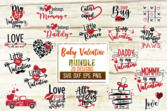 Print on Demand: Valentine's Day Baby Svg Craft Bundle Gráfico Crafts Por SVGlaboratory