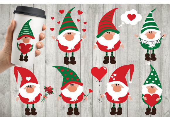 Valentines Gnomies Bundle Svg, Gnome Svg Gráfico Crafts Por All About Svg