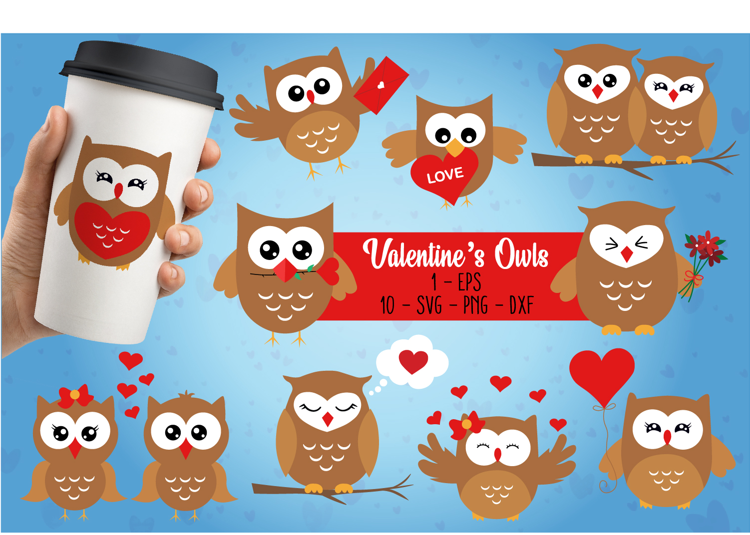 Download Free Valentines Owls Graphic By All About Svg Creative Fabrica for Cricut Explore, Silhouette and other cutting machines.