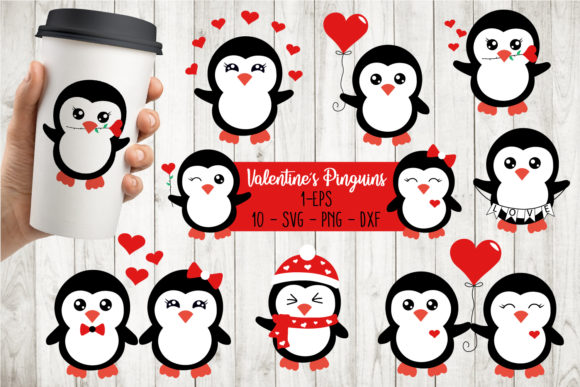 Valentines Penguins Bundle Svg Gráfico Crafts Por All About Svg