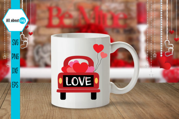 Valentines Truck Svg, Love Truck Svg Graphic Crafts By All About Svg - Image 3