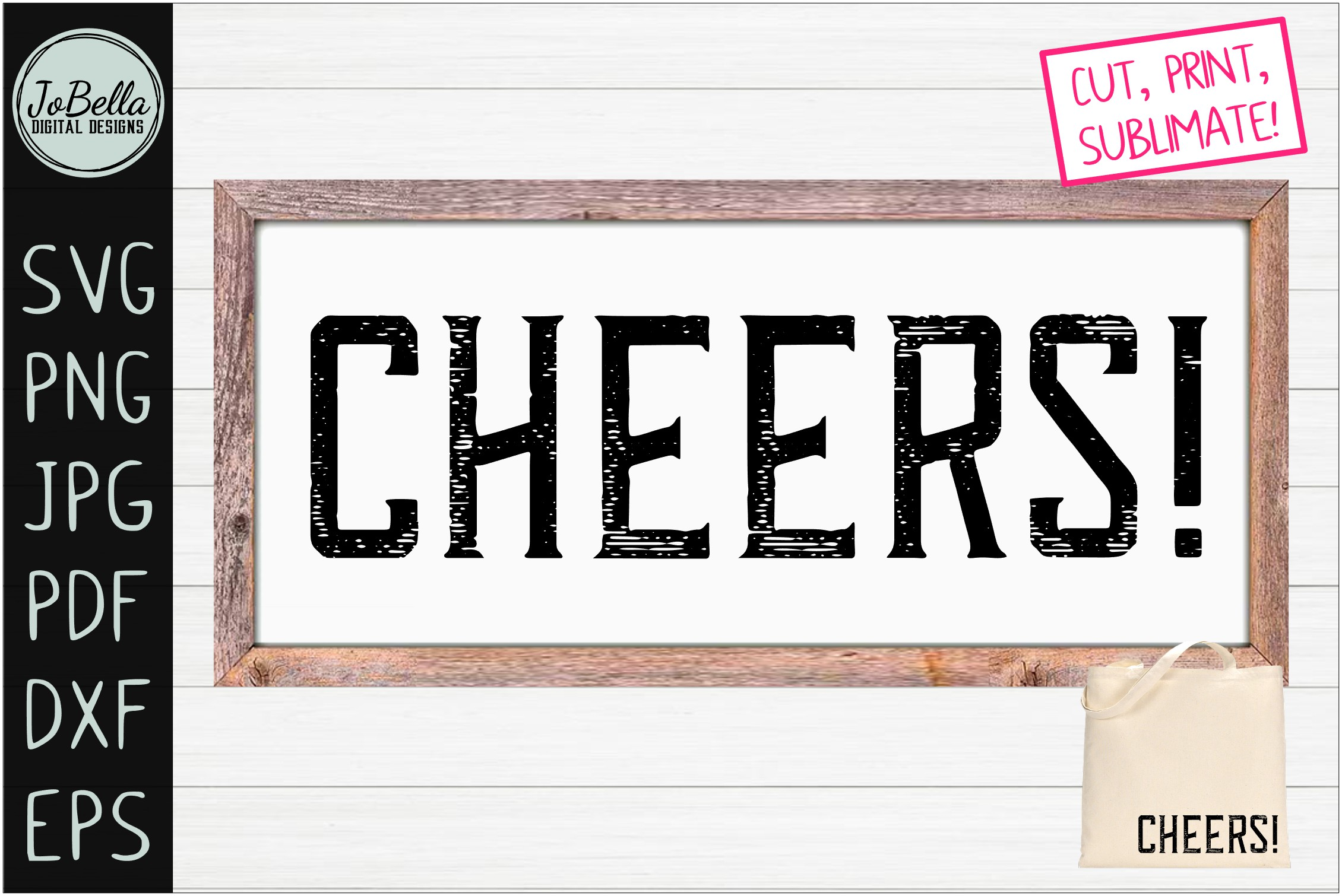Download Free Vintage Cheers Graphic By Jobella Digital Designs Creative Fabrica for Cricut Explore, Silhouette and other cutting machines.