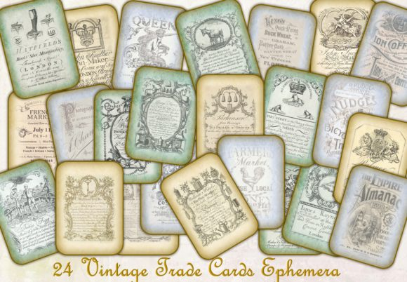 Vintage Trading Cards Ephemer Graphic Crafts By DigitalCraftsco