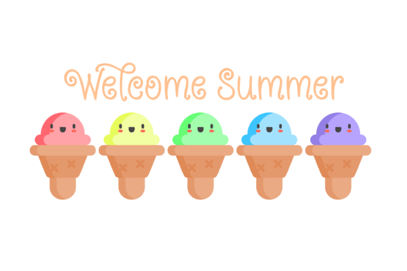 Print on Demand: Welcome Summer Ice Cream Cone Pastel SVG Graphic Print Templates By AM Digital Designs