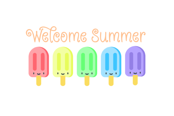 Print on Demand: Welcome Summer Ice Cream Pastel SVG Graphic Print Templates By Angela Wheeland