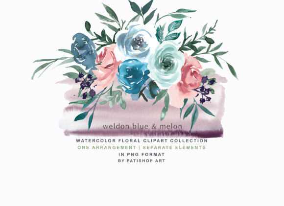 Weldon Blue Melon Watercolor Floral Set Graphic Illustrations By Patishop Art