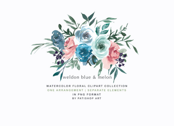 Weldon Blue Melon Watercolor Floral Set Graphic Illustrations By Patishop Art - Image 2