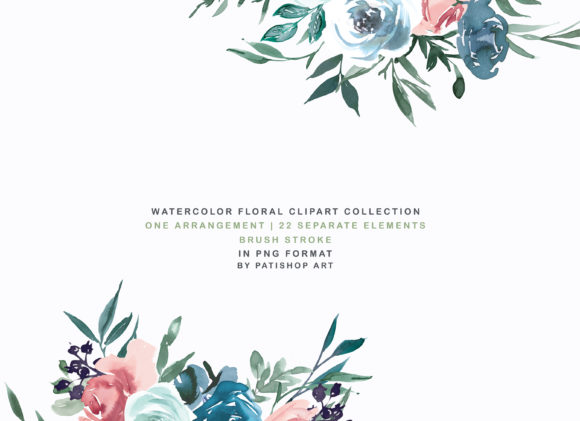 Weldon Blue Melon Watercolor Floral Set Graphic Illustrations By Patishop Art - Image 3