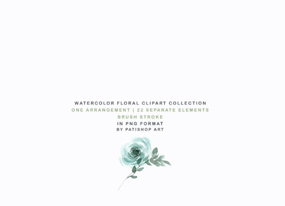 Weldon Blue Melon Watercolor Floral Set Graphic Illustrations By Patishop Art - Image 4