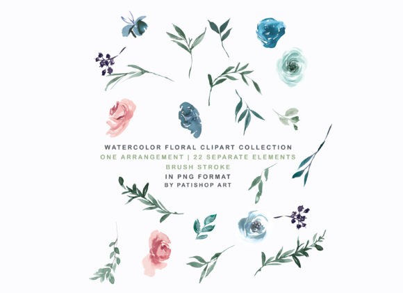 Weldon Blue Melon Watercolor Floral Set Graphic Illustrations By Patishop Art - Image 5