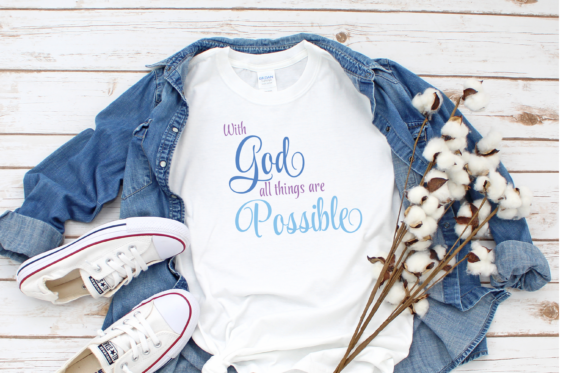 Print on Demand: With God All Things Are Possible Quote Graphic Print Templates By Angela Wheeland